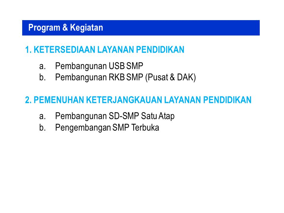 Program & Kegiatan 1. Ketersediaan Layanan Pendidikan. Pembangunan USB SMP. Pembangunan RKB SMP (Pusat & DAK)