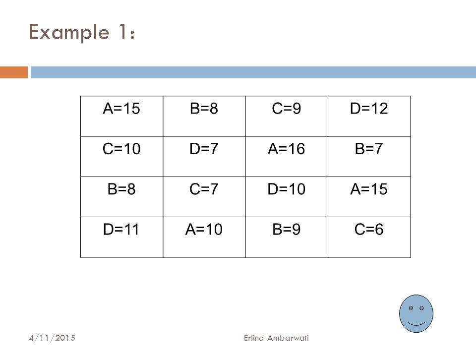 Example 1: A=15 B=8 C=9 D=12 C=10 D=7 A=16 B=7 C=7 D=10 D=11 A=10 B=9