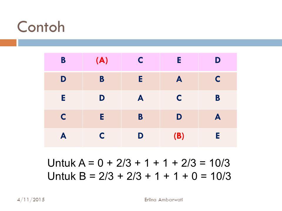 Contoh Untuk A = 0 + 2/3 + 1 + 1 + 2/3 = 10/3