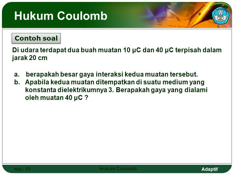 Hukum Coulomb Contoh soal
