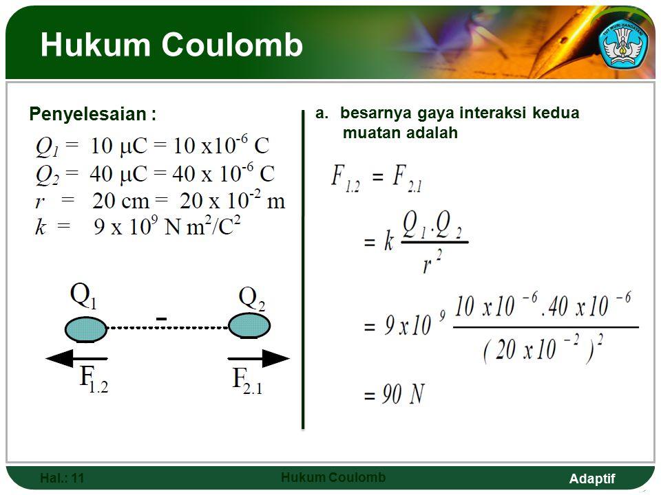 Hukum Coulomb Penyelesaian : besarnya gaya interaksi kedua
