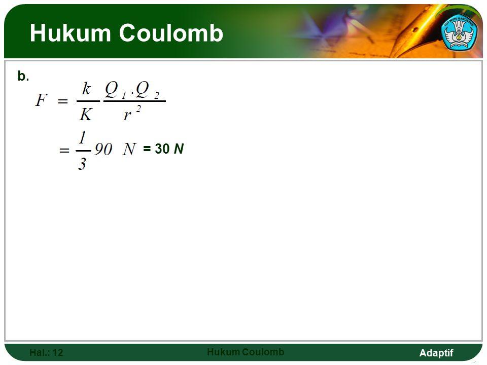 Hukum Coulomb b. = 30 N Hal.: 12 Hukum Coulomb