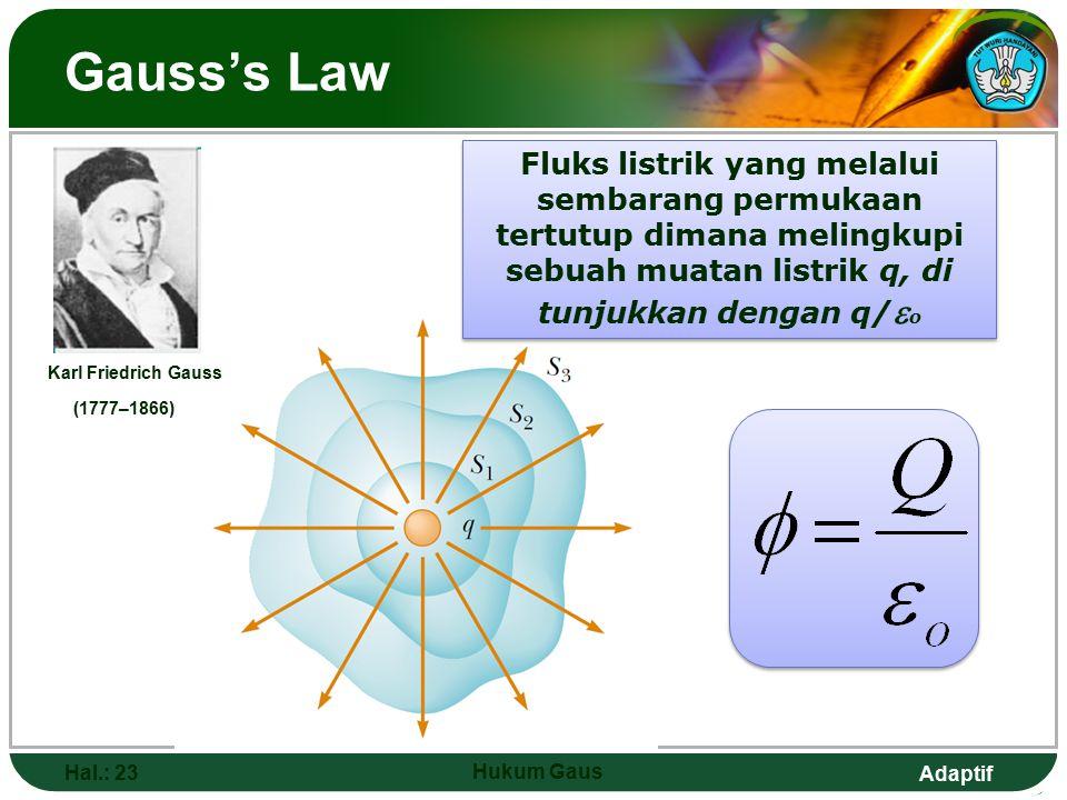 Gauss's Law Fluks listrik yang melalui sembarang permukaan tertutup dimana melingkupi sebuah muatan listrik q, di tunjukkan dengan q/o.