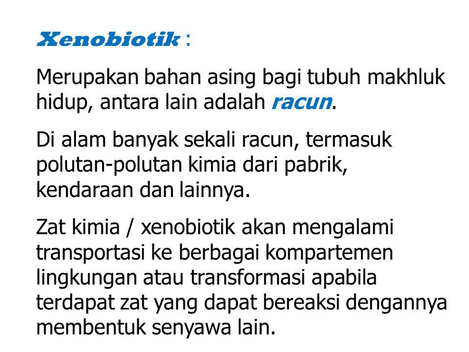 Xenobiotik : Merupakan bahan asing bagi tubuh makhluk hidup, antara lain adalah racun.