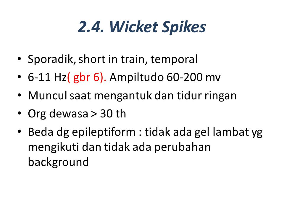 2.4. Wicket Spikes Sporadik, short in train, temporal