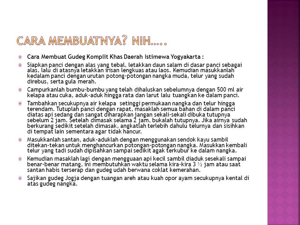 Cara membuatnya Nih….. Cara Membuat Gudeg Komplit Khas Daerah Istimewa Yogyakarta :