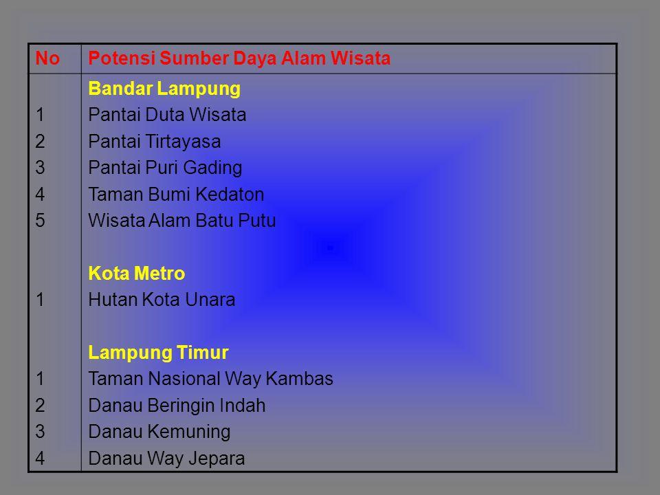 No Potensi Sumber Daya Alam Wisata. 1. 2. 3. 4. 5. Bandar Lampung. Pantai Duta Wisata. Pantai Tirtayasa.