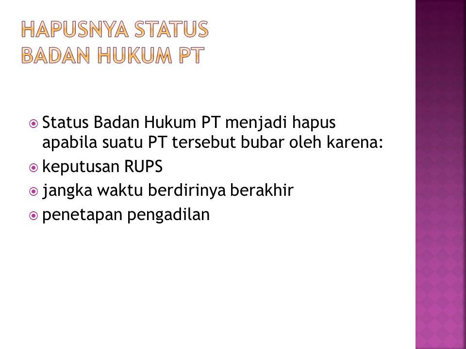 Hapusnya Status Badan Hukum PT