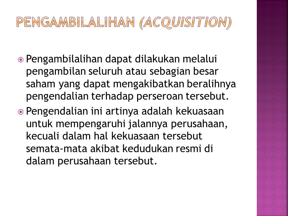 Pengambilalihan (Acquisition)