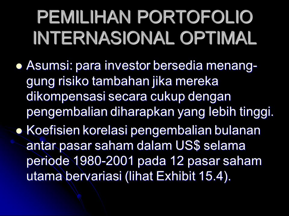 PEMILIHAN PORTOFOLIO INTERNASIONAL OPTIMAL