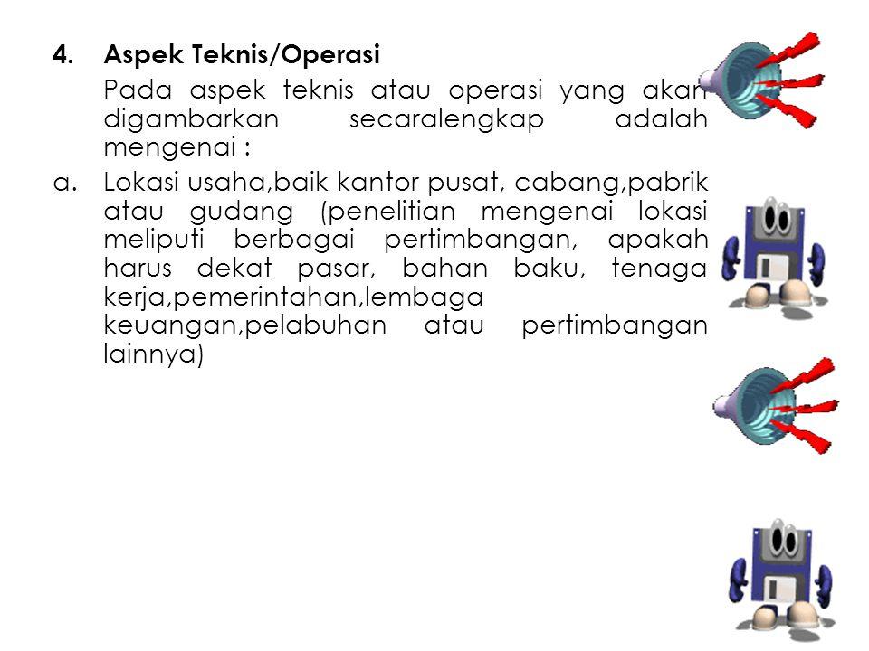 Aspek Teknis/Operasi Pada aspek teknis atau operasi yang akan digambarkan secaralengkap adalah mengenai :