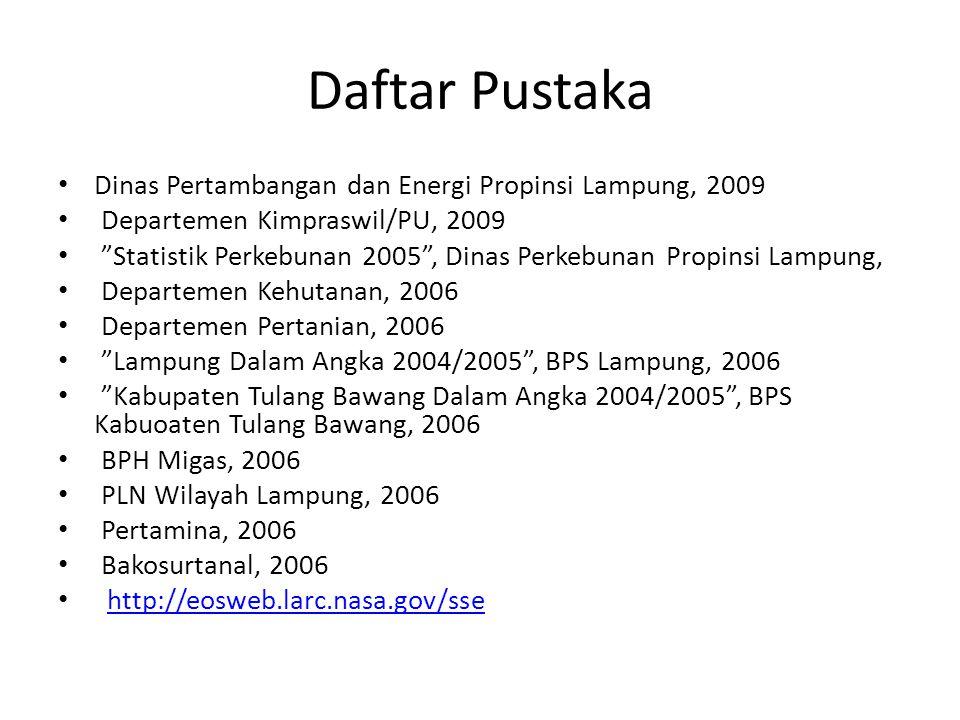Daftar Pustaka Dinas Pertambangan dan Energi Propinsi Lampung, 2009
