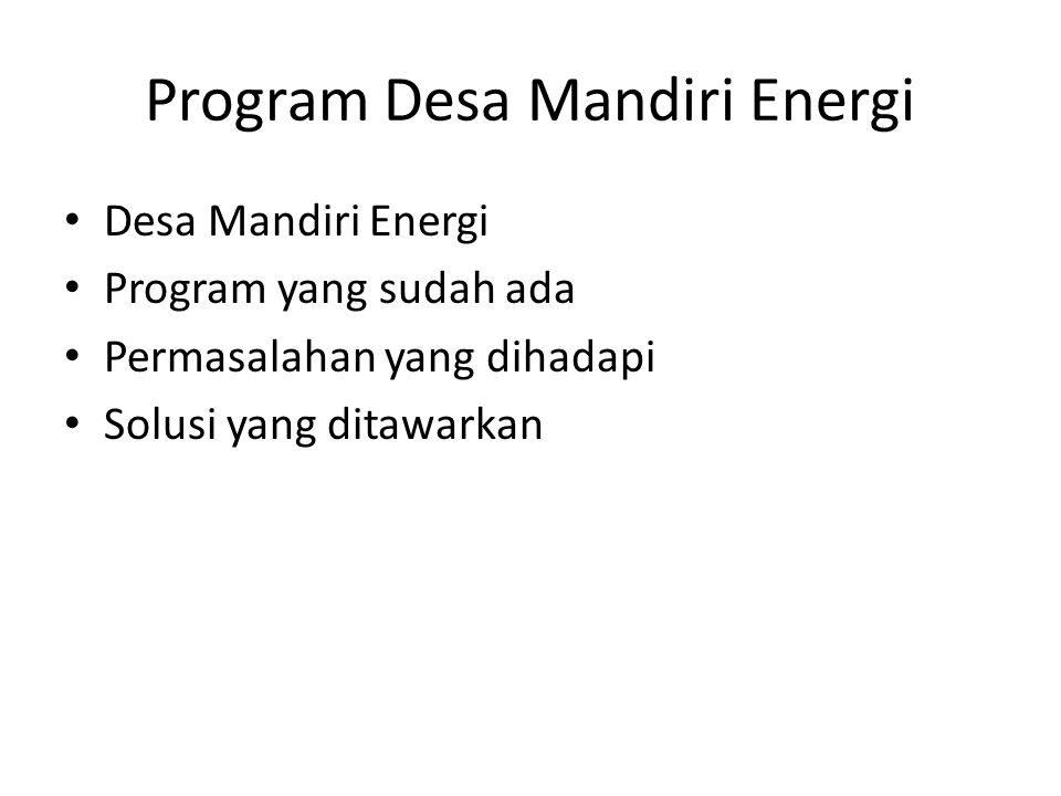 Program Desa Mandiri Energi