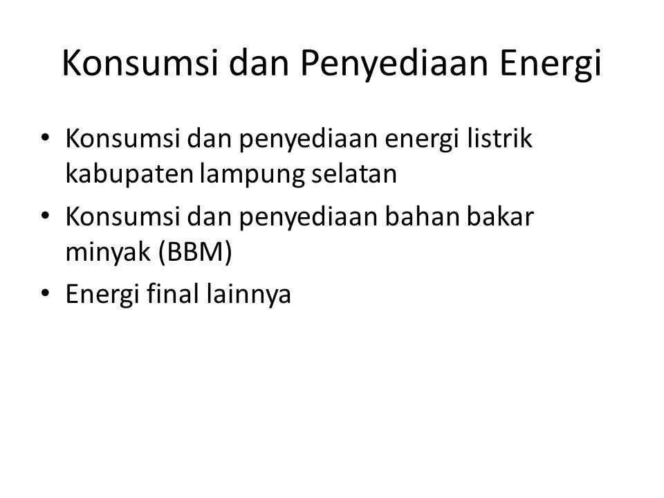 Konsumsi dan Penyediaan Energi