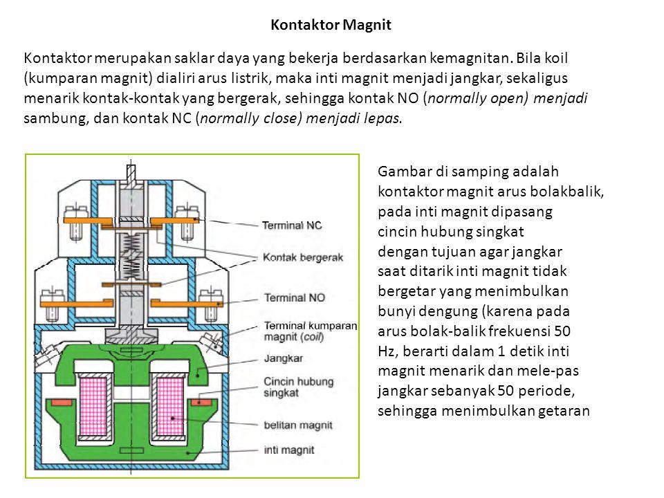 Kontaktor Magnit Kontaktor merupakan saklar daya yang bekerja berdasarkan kemagnitan. Bila koil.