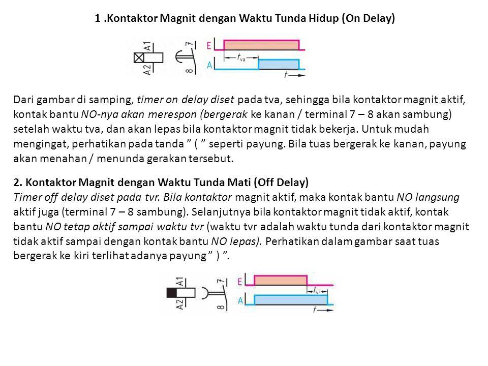 1 .Kontaktor Magnit dengan Waktu Tunda Hidup (On Delay)