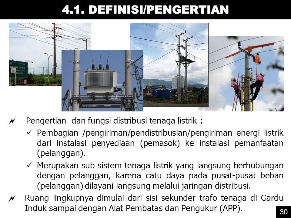 4.1. DEFINISI/PENGERTIAN Pengertian dan fungsi distribusi tenaga listrik :