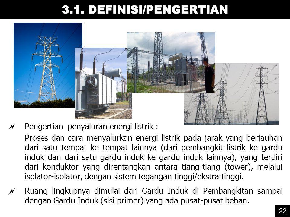 3.1. DEFINISI/PENGERTIAN Pengertian penyaluran energi listrik :