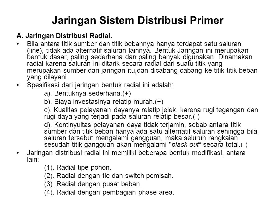 Jaringan Sistem Distribusi Primer