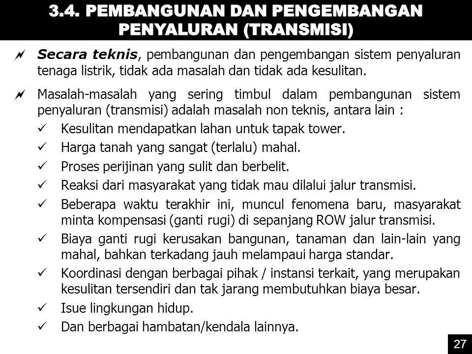 3.4. PEMBANGUNAN DAN PENGEMBANGAN PENYALURAN (TRANSMISI)