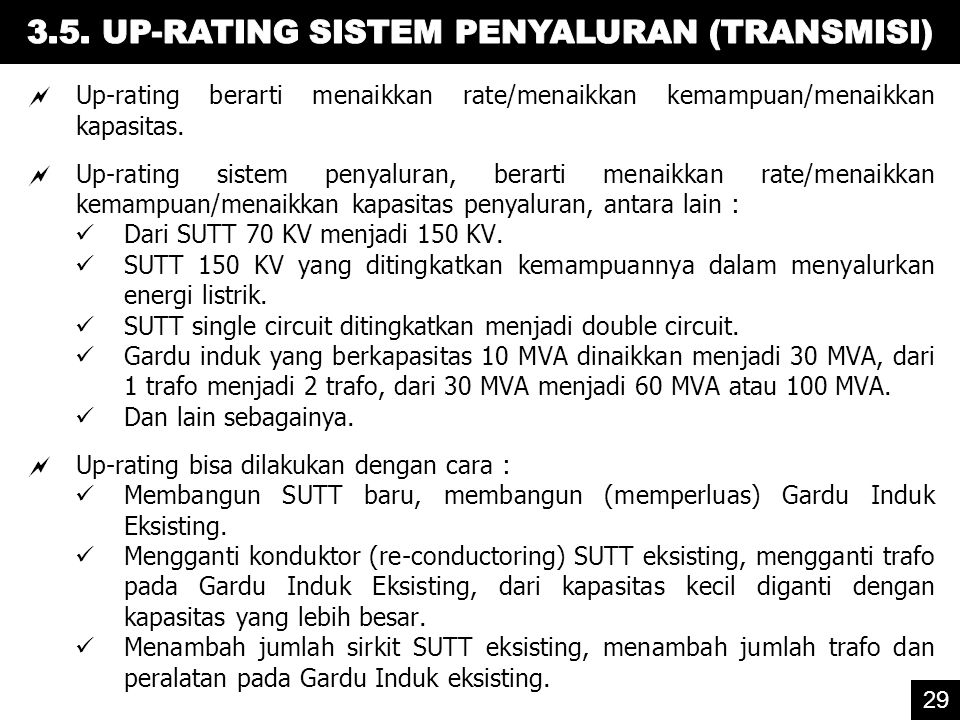 3.5. UP-RATING SISTEM PENYALURAN (TRANSMISI)