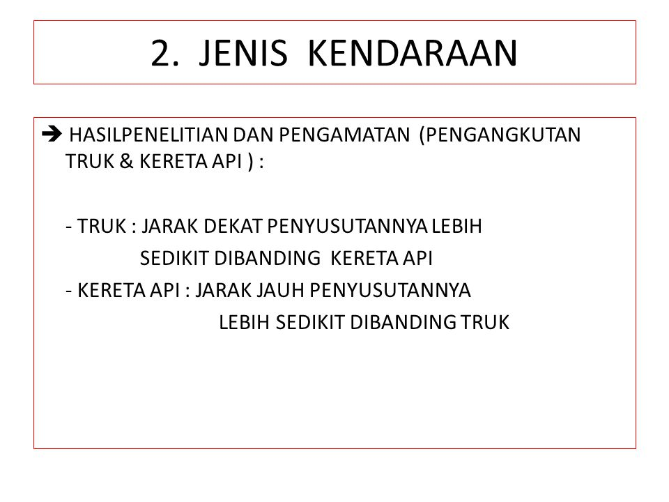 2. JENIS KENDARAAN