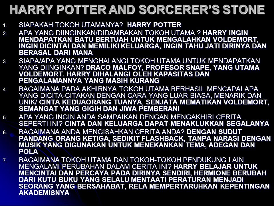 HARRY POTTER AND SORCERER'S STONE