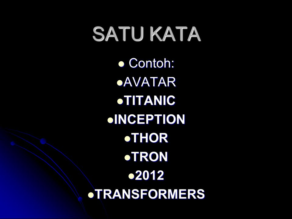 Contoh: AVATAR TITANIC INCEPTION THOR TRON 2012 TRANSFORMERS