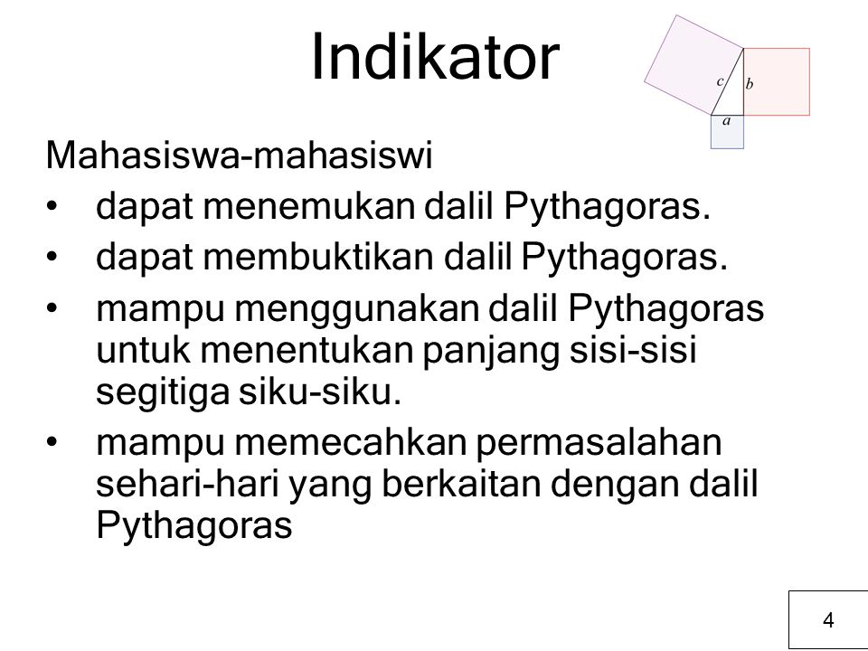 Indikator Mahasiswa-mahasiswi dapat menemukan dalil Pythagoras.