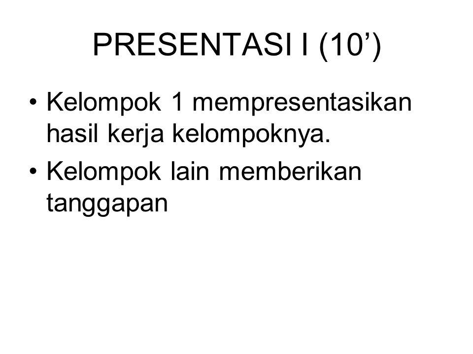PRESENTASI I (10') Kelompok 1 mempresentasikan hasil kerja kelompoknya.