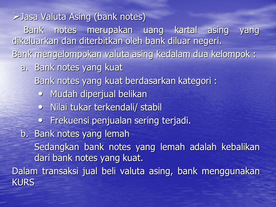 Jasa Valuta Asing (bank notes)