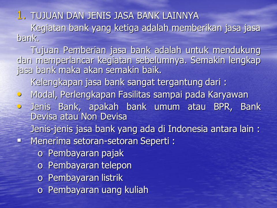 TUJUAN DAN JENIS JASA BANK LAINNYA