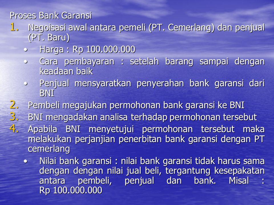 Proses Bank Garansi Negoisasi awal antara pemeli (PT. Cemerlang) dan penjual (PT. Baru) Harga : Rp 100.000.000.
