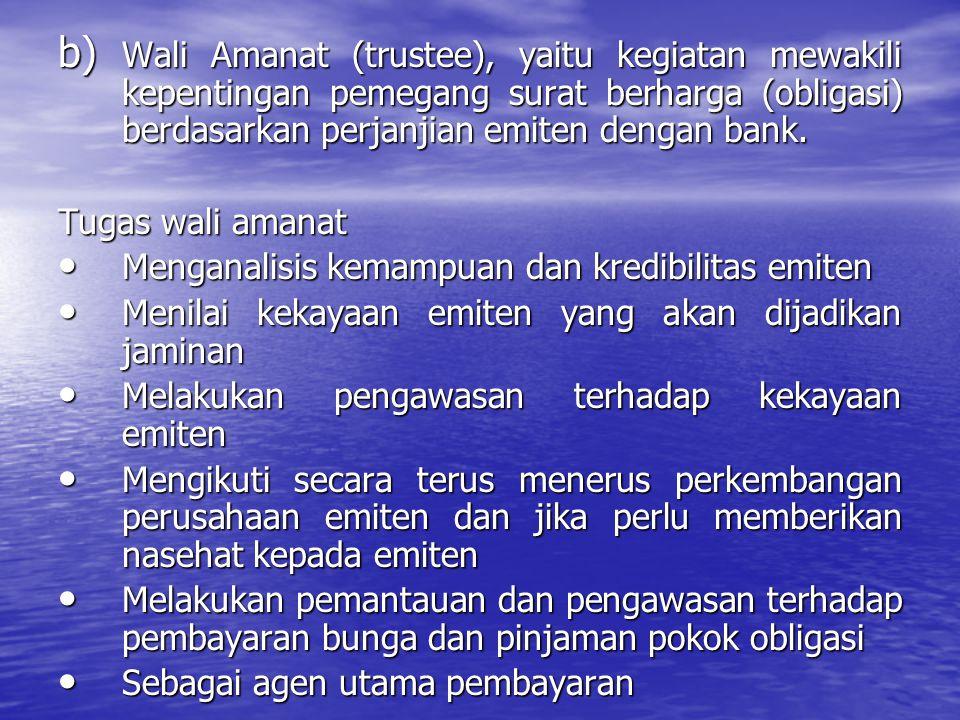 Wali Amanat (trustee), yaitu kegiatan mewakili kepentingan pemegang surat berharga (obligasi) berdasarkan perjanjian emiten dengan bank.