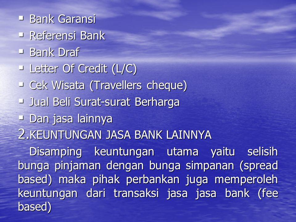 Bank Garansi Referensi Bank. Bank Draf. Letter Of Credit (L/C) Cek Wisata (Travellers cheque) Jual Beli Surat-surat Berharga.