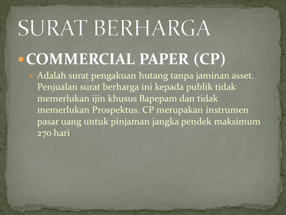 SURAT BERHARGA COMMERCIAL PAPER (CP)
