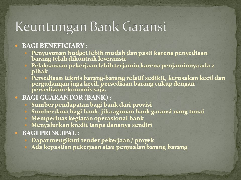 Keuntungan Bank Garansi