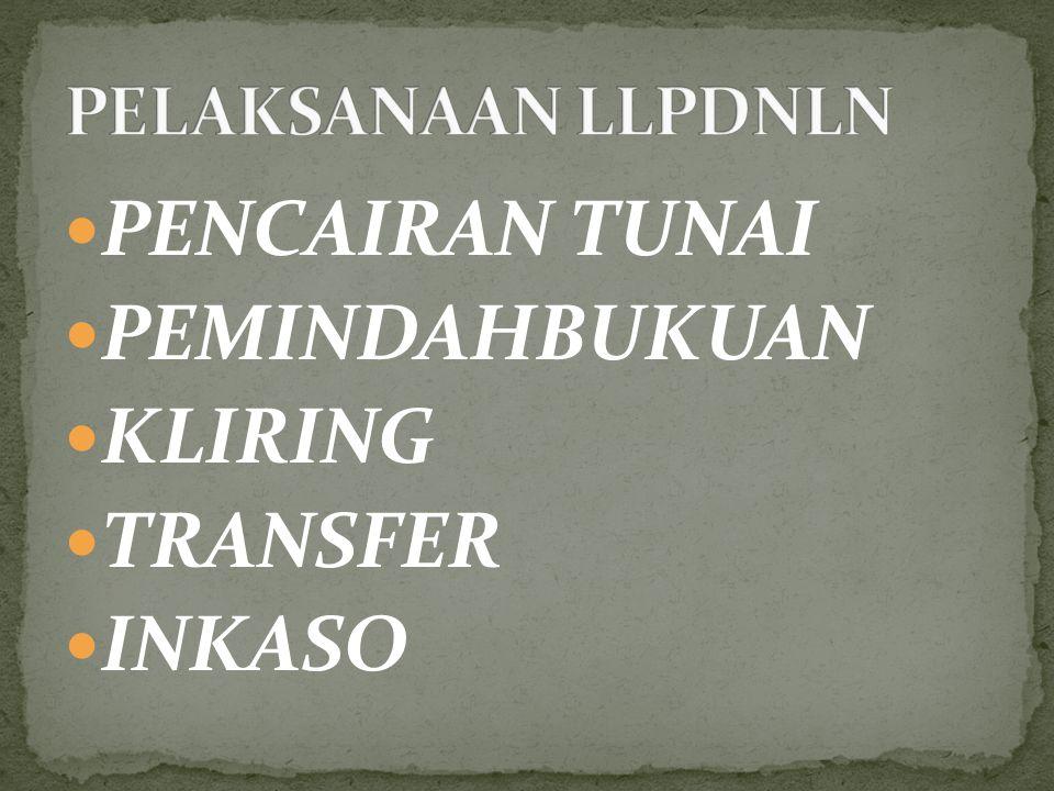 PENCAIRAN TUNAI PEMINDAHBUKUAN KLIRING TRANSFER INKASO