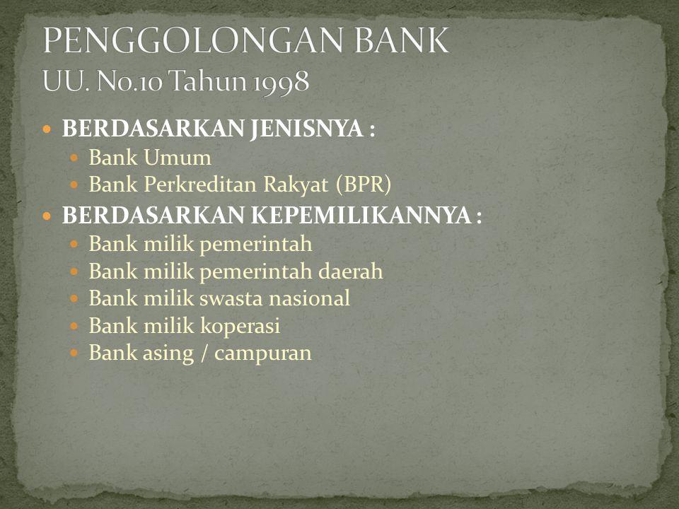 PENGGOLONGAN BANK UU. No.10 Tahun 1998