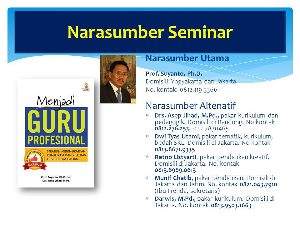 Narasumber Seminar Narasumber Utama Narasumber Altenatif