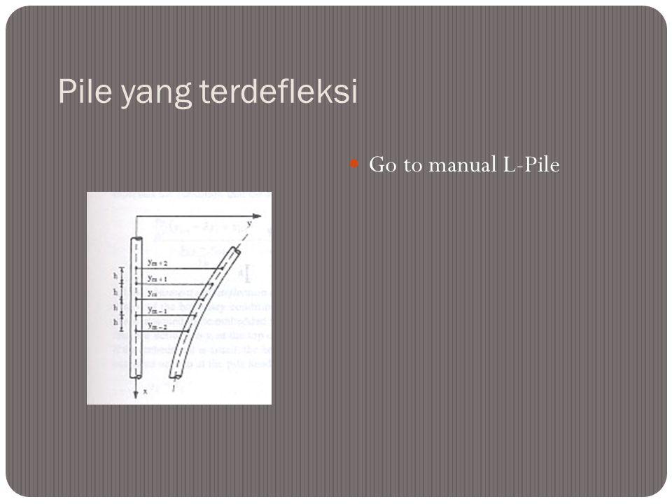 Pile yang terdefleksi Go to manual L-Pile