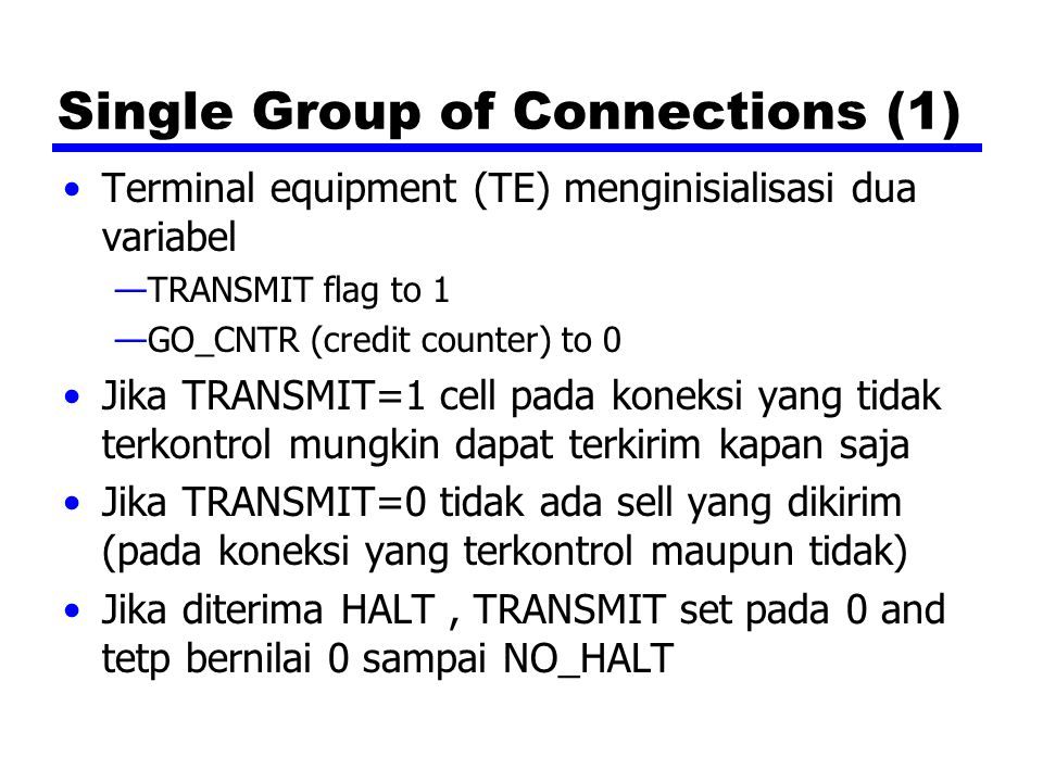 Single Group of Connections (1)