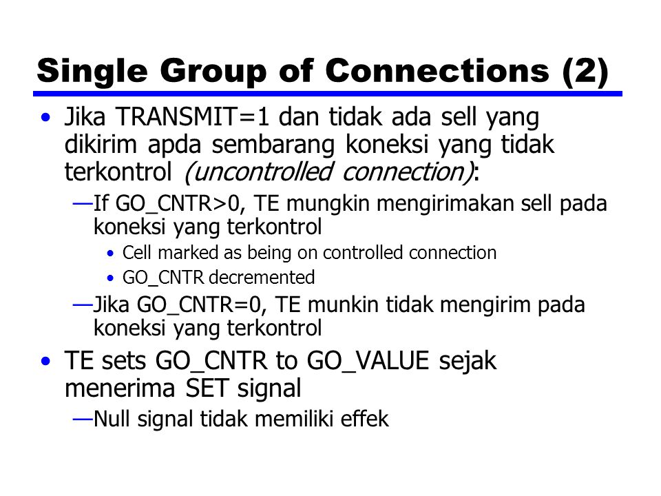 Single Group of Connections (2)