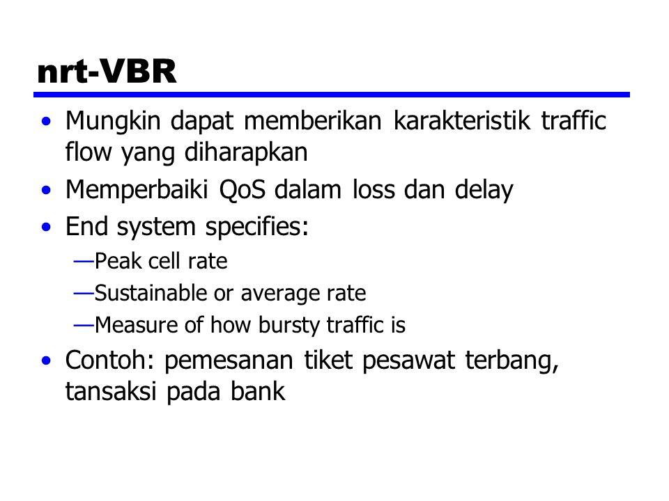 nrt-VBR Mungkin dapat memberikan karakteristik traffic flow yang diharapkan. Memperbaiki QoS dalam loss dan delay.