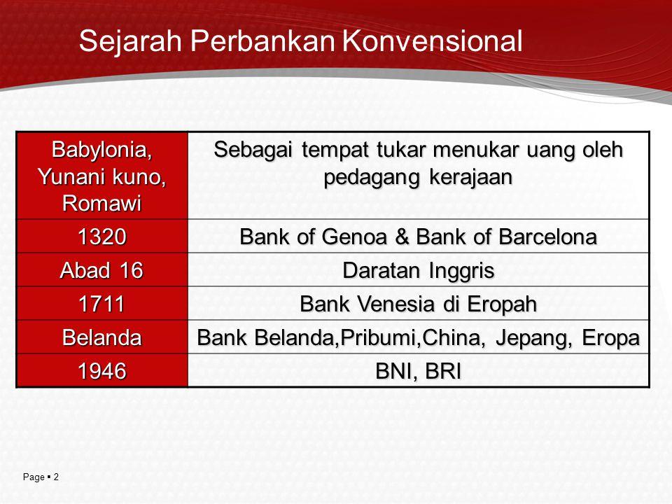 Sejarah Perbankan Konvensional