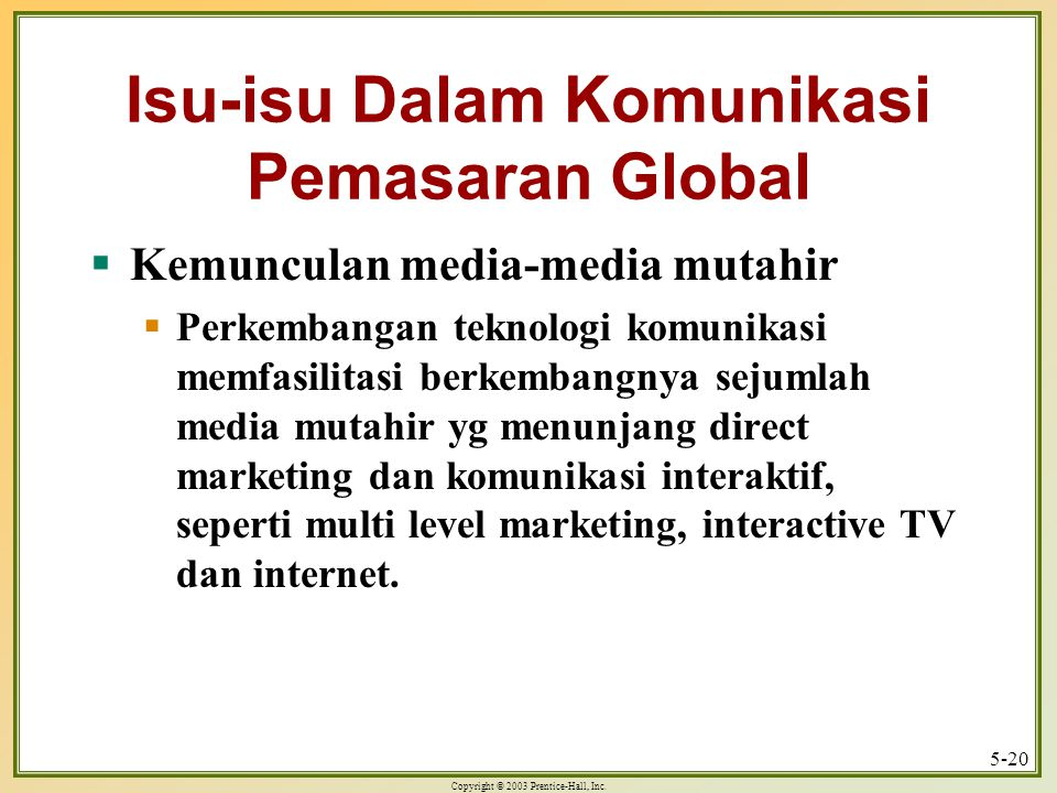 Isu-isu Dalam Komunikasi Pemasaran Global