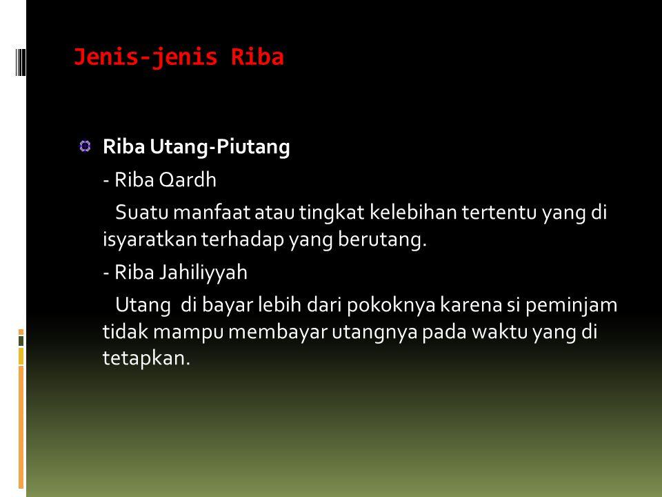 Jenis-jenis Riba Riba Utang-Piutang - Riba Qardh