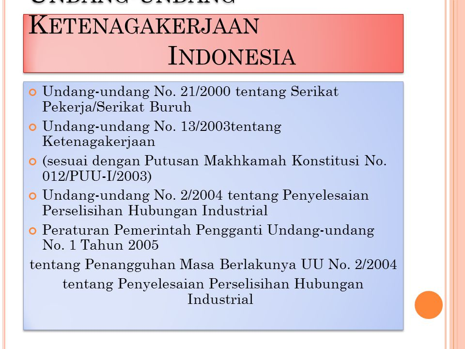 Undang-undang Ketenagakerjaan Indonesia