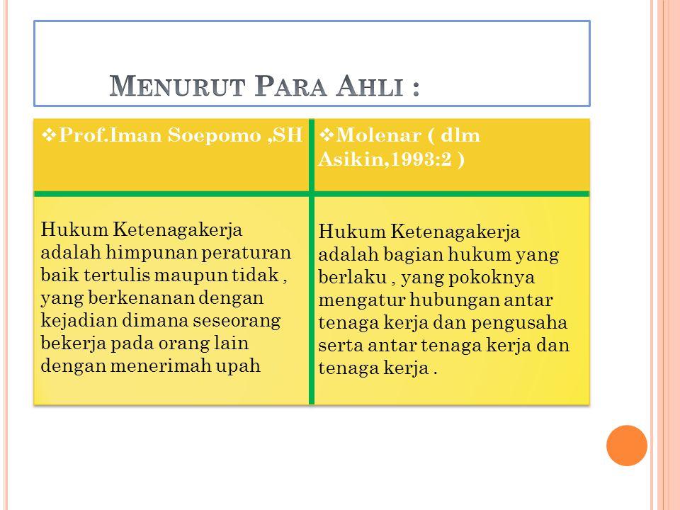 Menurut Para Ahli : Prof.Iman Soepomo ,SH