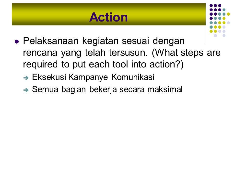 Action Pelaksanaan kegiatan sesuai dengan rencana yang telah tersusun. (What steps are required to put each tool into action )